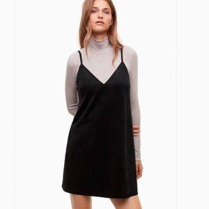 Aritzia Vivienne Faux Suede Black Dress